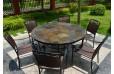 Table de jardin ronde mosaique d'ardoise 125-160 OCEANE