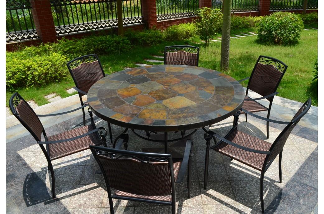 Table De Jardin Ronde Mosaïque Du0027ardoise 125 160 OCEANE