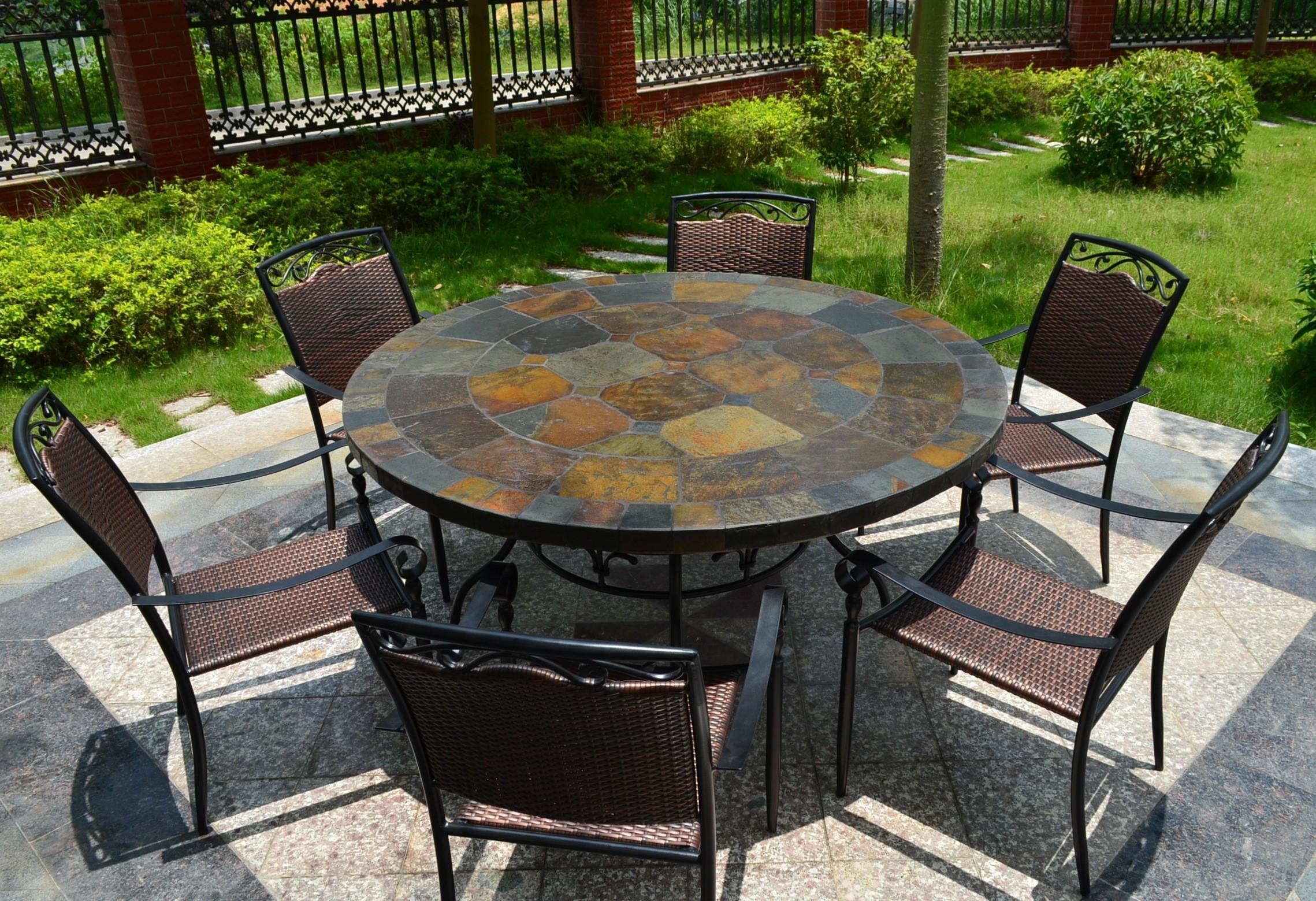 Table De Jardin Ronde En Mosaique De Pierre D Ardoise 125 160 Oceane