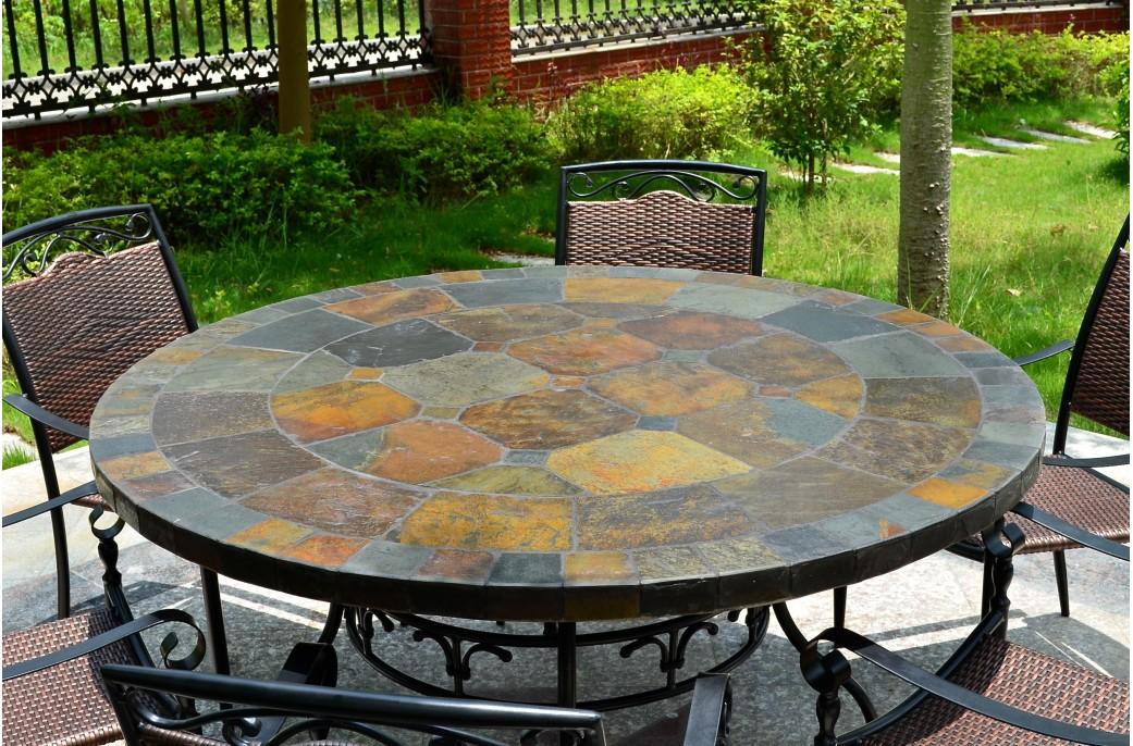Table De Jardin Mosaique.Table De Jardin Ronde Mosaique D Ardoise 125 160 Oceane