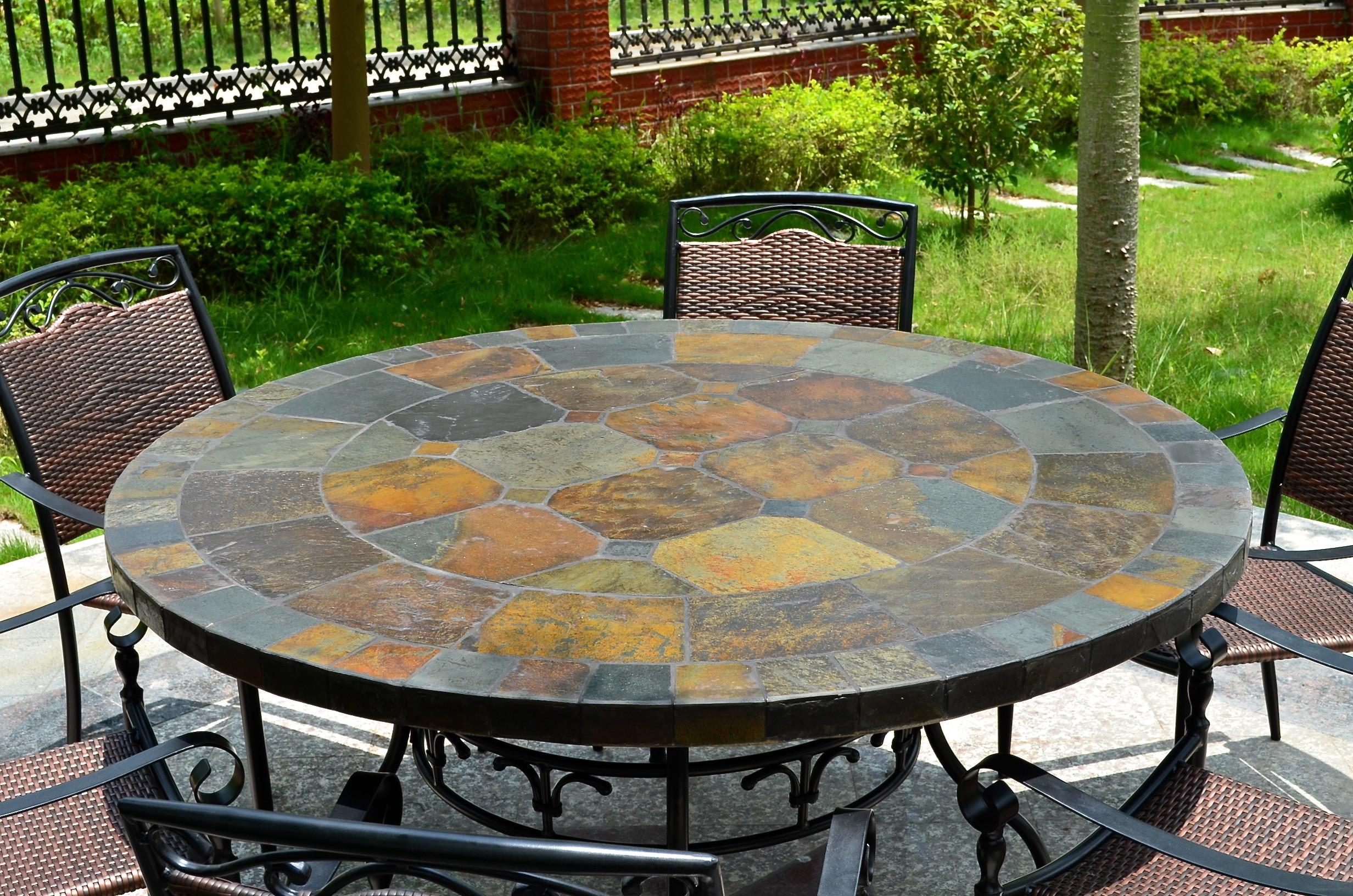 Table de jardin ronde mosaïque d\'ardoise 125-160 OCEANE
