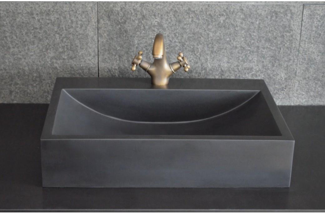 Vasque salle de bain à poser en pierre basalte noir PEGASUS BLACK 60cm