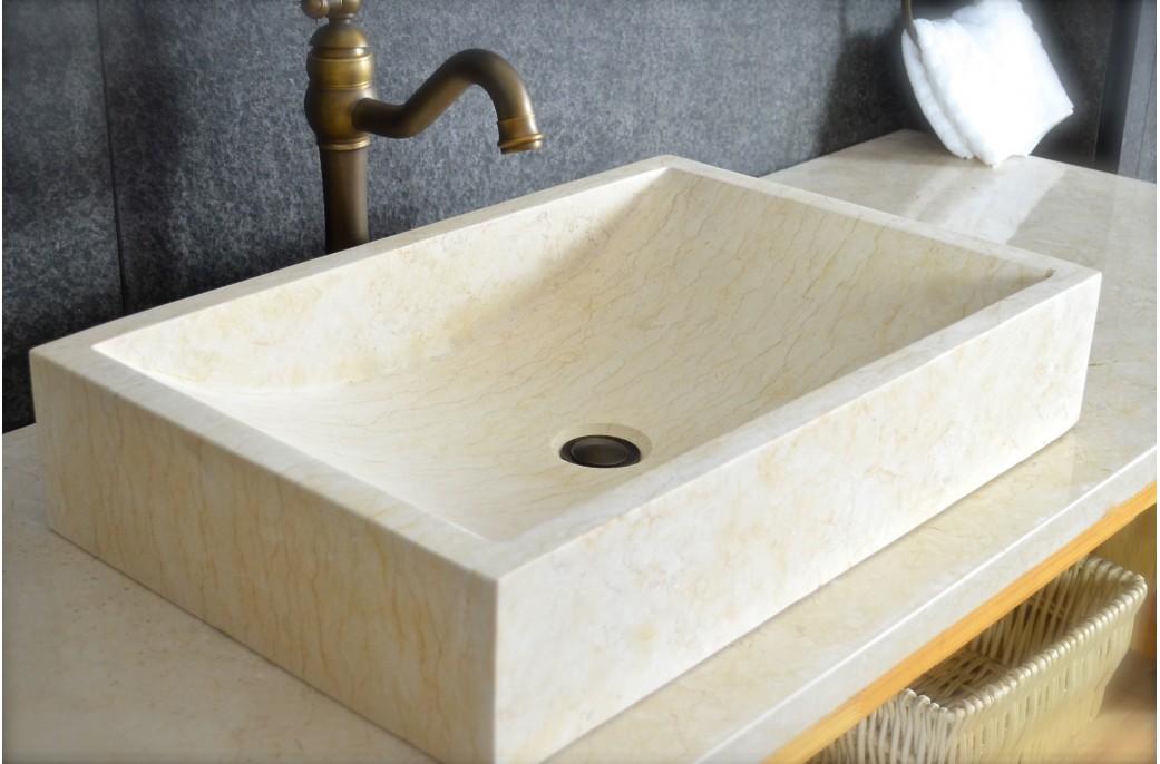 Vasque salle de bain pierre naturelle marbre d\'Égypte TORRENCE SUNNY
