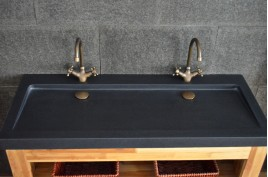 Double vasque en pierre 120x50 Granit Noir véritable YATE SHADOW