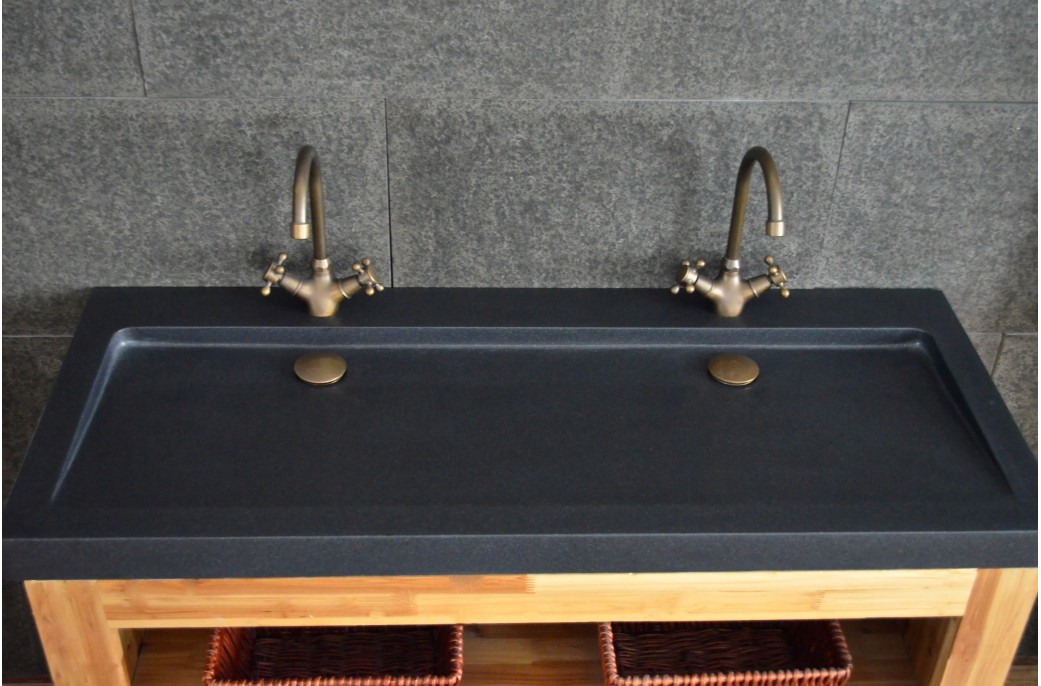 Double vasques en granit noir yate shadow poser 120x50 haut de gamme living 39 roc - Double vasque a poser ...