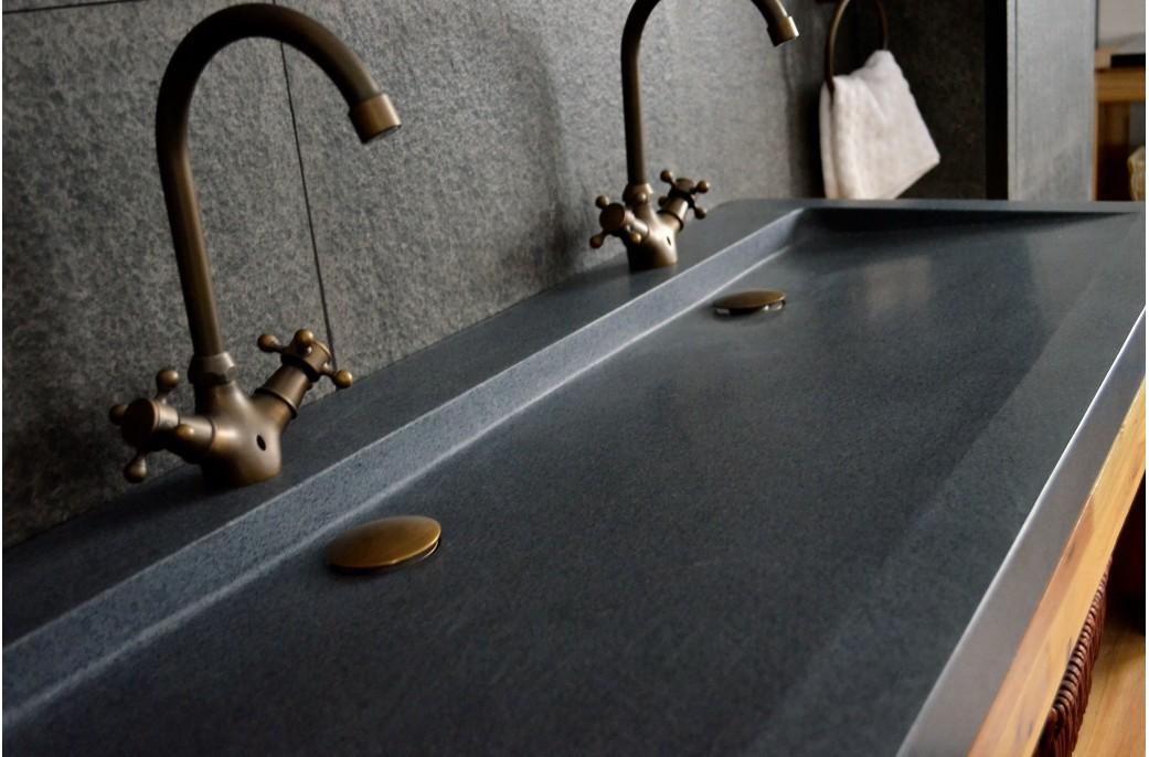 vasque a poser en pierre Double vasque en pierre à poser 120x50 Granit YATE