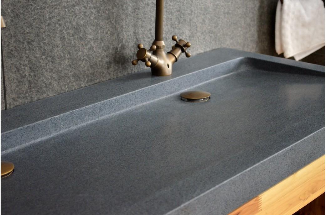 Double Vasques en pierre YATE à poser 120x50 Granit haut de gamme