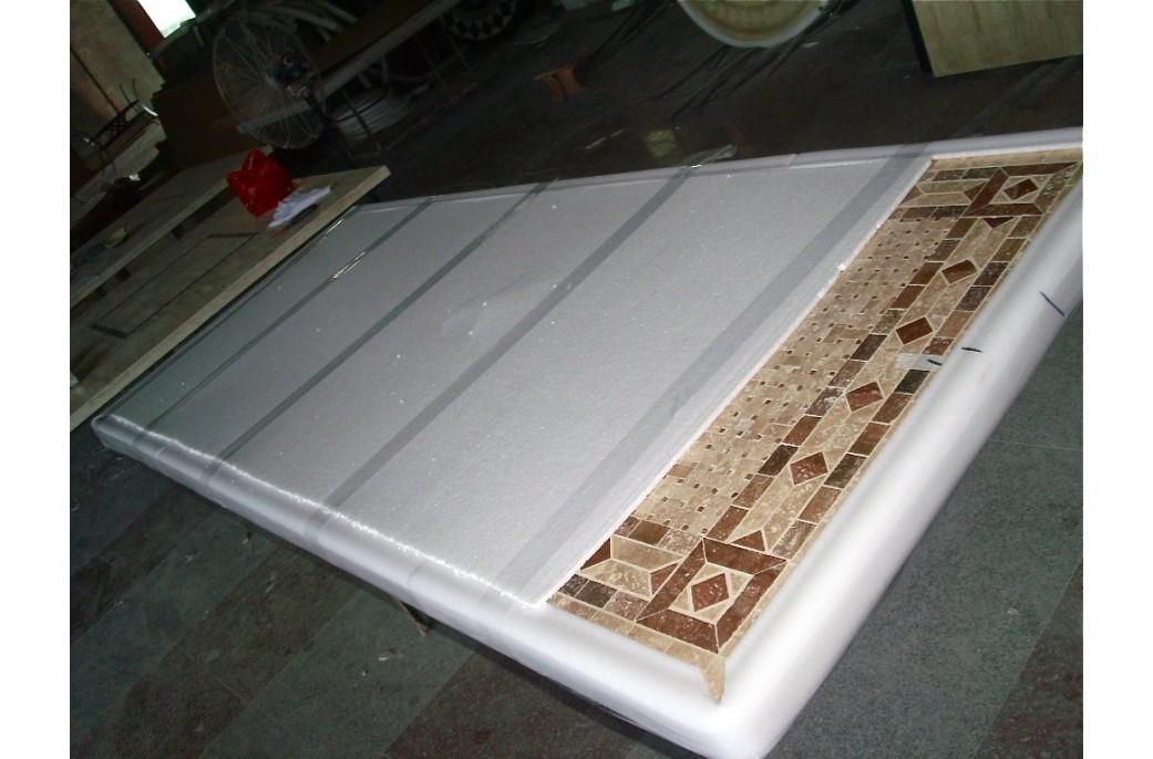 table mosa que en pierre toscane de jardin en fer forg. Black Bedroom Furniture Sets. Home Design Ideas
