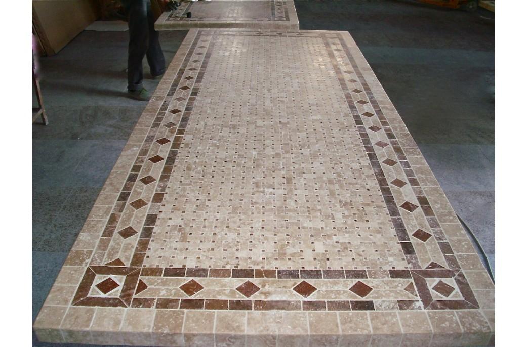 Table mosa que en pierre toscane de jardin en fer forg marbre rouge et travertin - Modele mosaique pour plateau ...