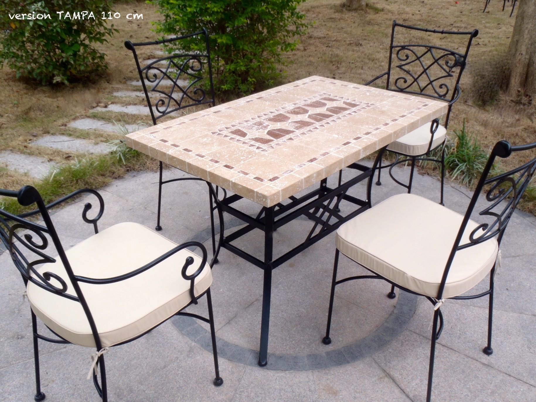 Table De Jardin Mosaique De Pierre Naturelle Marbre 160 200 240 Tampa
