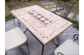 Table de jardin mosaique marbre pierre naturelle 120-160-200-240 TAMPA