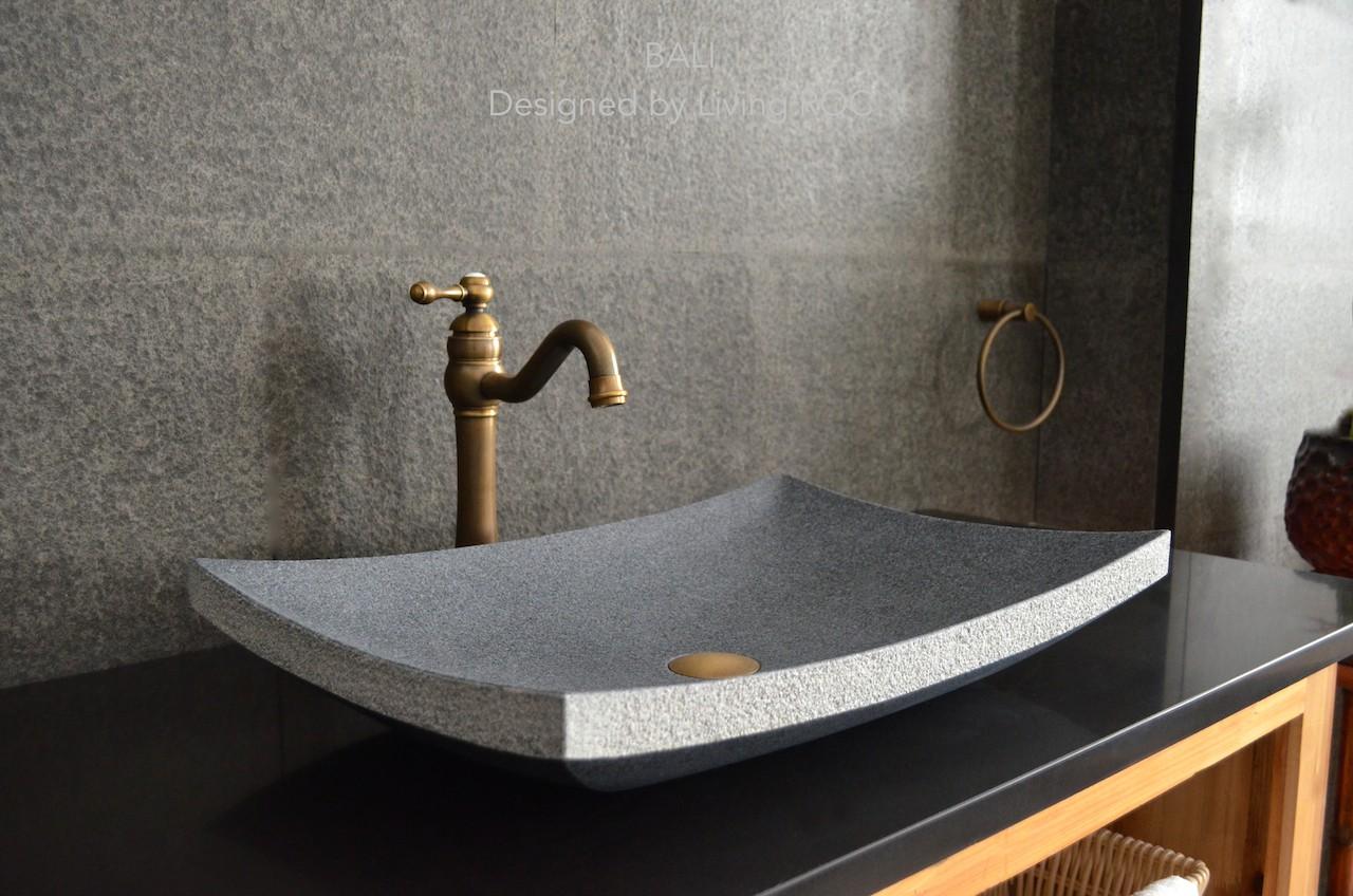 vasque de salle de bain en pierre naturelle granit gris
