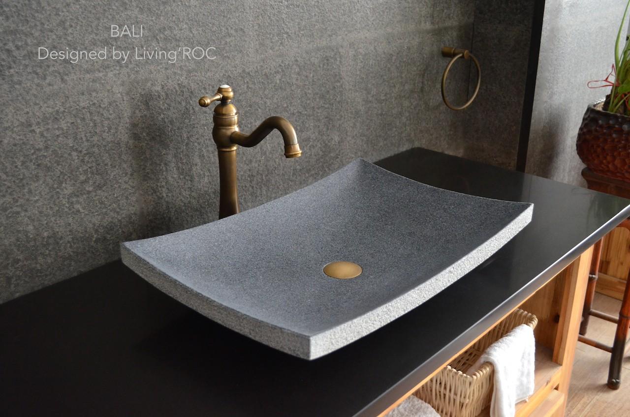 Vasque salle de bain en pierre naturelle granit gris véritable BALI