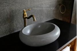 Vasque en pierre naturelle à poser oblongue basalte gris COCOON