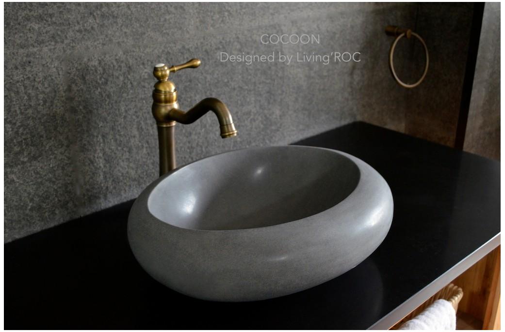 Vasque En Pierre à Poser Oblongue Design Basalte Naturel Cocoon
