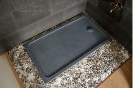 Receveur de douche 160x90 bac en granit gris véritable QUASAR