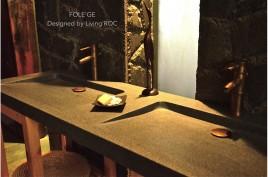 Double vasques salle de bain 160x50 granit gris véritable FOLEGE