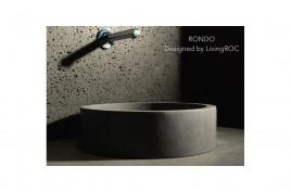 Vasque de salle de bain ronde pierre naturelle grise Basalte RONDO