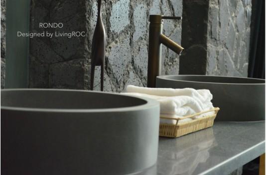 40cm Vasque de salle de bain ronde en pierre naturelle Basalte - RONDO