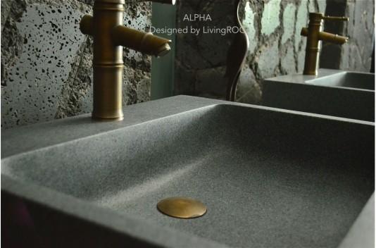 Lavabo Vasque granit gris pierre trou robinetterie intégré - ALPHA