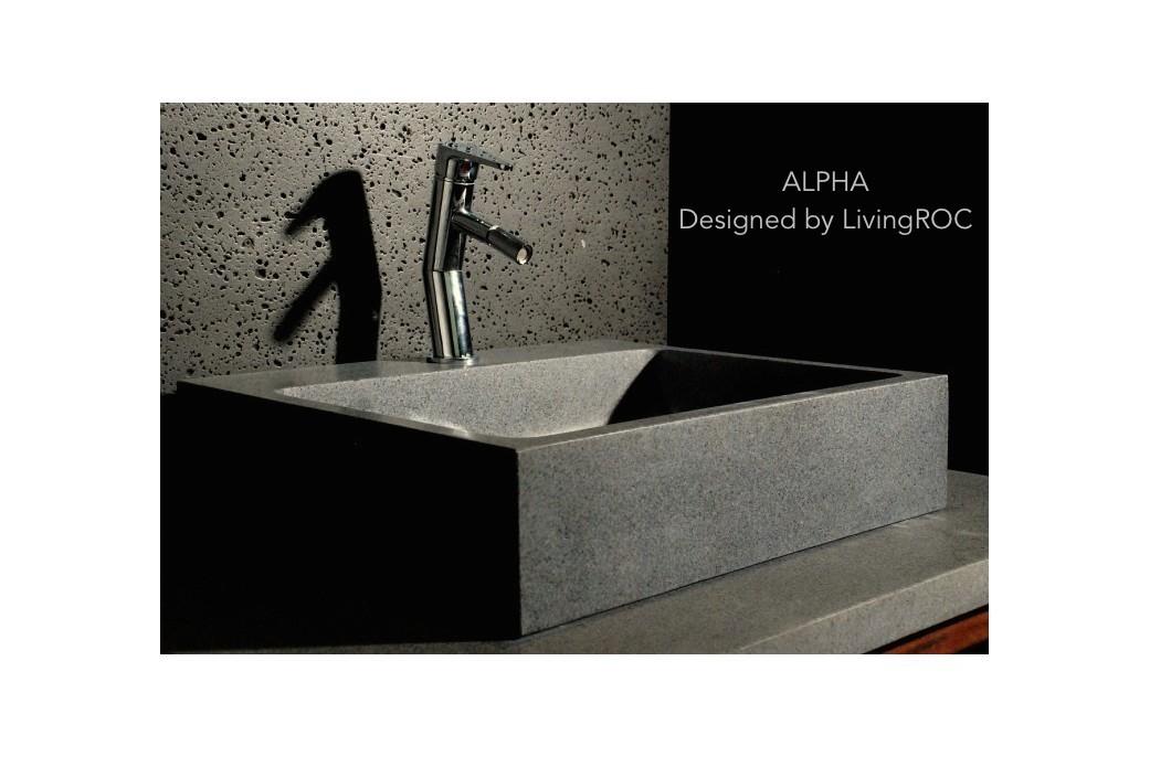 lavabo en pierre grise 55x46 alpha trou robinetterie int gr living 39 roc. Black Bedroom Furniture Sets. Home Design Ideas
