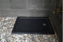 Receveur de douche 120X80 à l'italienne véritable Granit Noir PALAOS SHADOW