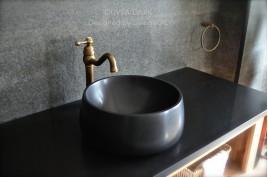 Vasque salle de bain en pierre noire Granit véritable OUVEA SHADOW