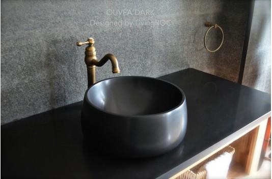 Vasque à poser en pierre noire Granit véritable OUVEA SHADOW