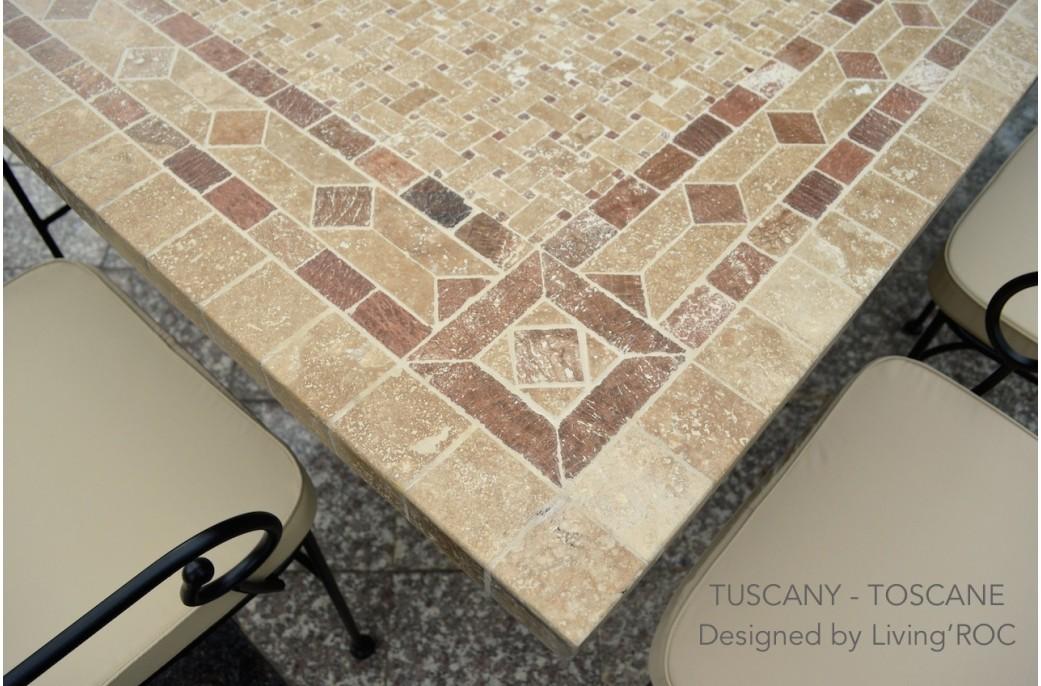 table mosa que en pierre toscane de jardin en fer forg marbre rouge et travertin. Black Bedroom Furniture Sets. Home Design Ideas