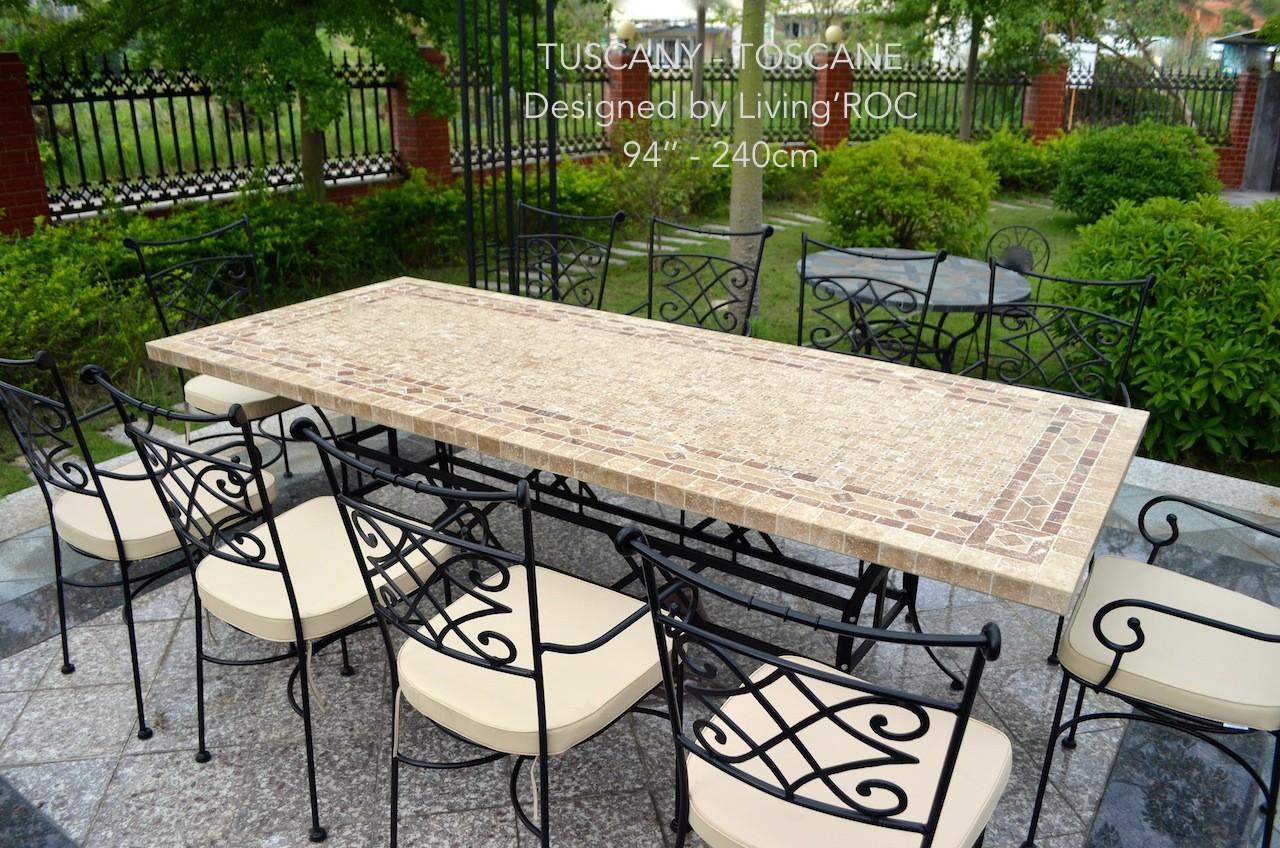 Table de jardin Table mosaïque en pierre naturelle 160-200-240 TOSCANE