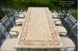 Table de jardin Table mosaïque en pierre naturelle 160-200-240 TOSCANE