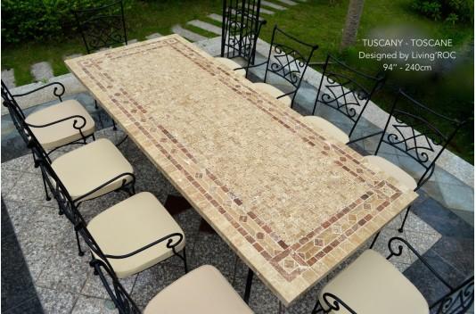 Table de jardin pierre naturelle mosaïque marbre 160-200-240 TOSCANE
