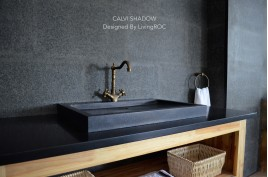 Vasque à poser salle de bain granit noir Luxe CALVI SHADOW