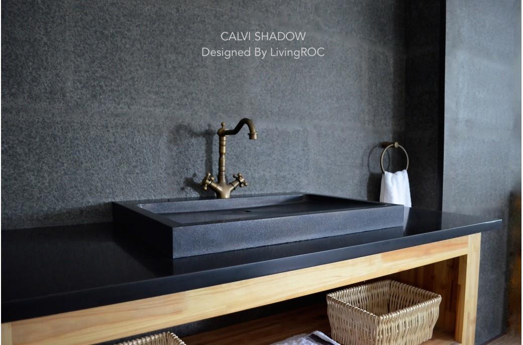 Vasque à poser salle de bain granit noir Luxe CALVI SHADOW 70x50