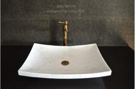 Vasque salle de bain à poser en pierre marbre Blanc BALI WHITE