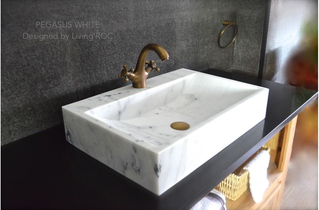 Vasque Salle De Bain En Marbre Blanc Pierre Naturelle