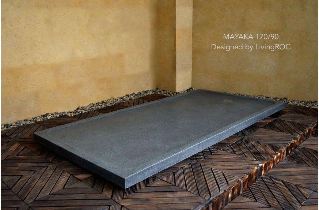 receveur de douche en pierre mayaka l 39 italienne granit grande taille 170x90 mayaka. Black Bedroom Furniture Sets. Home Design Ideas
