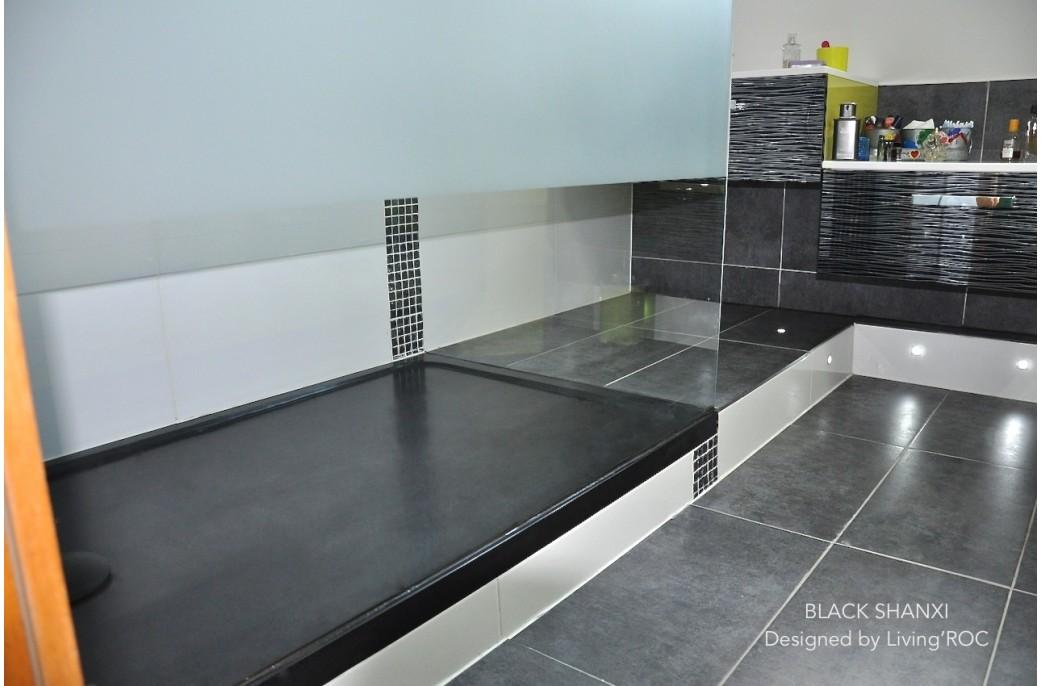 Receveur de douche en pierre SPACIUM SHADOW Granit noir véritable ...