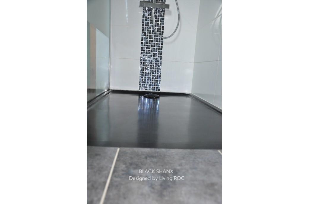 Receveur de douche 160x90 en granit noir rare et luxueux - QUASAR SHADOW
