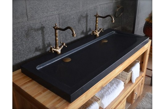 Double vasque en pierre 140x50 Granit Noir Luxe - LOVE SHADOW