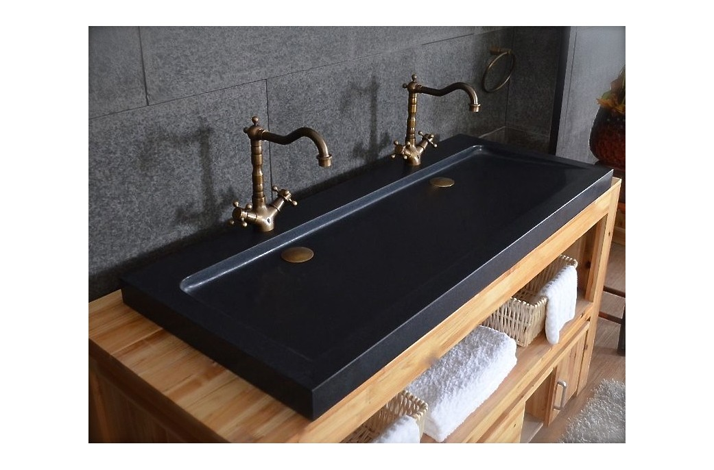 Double Vasque En Pierre 140x50 Granit Noir Luxe Love Shadow