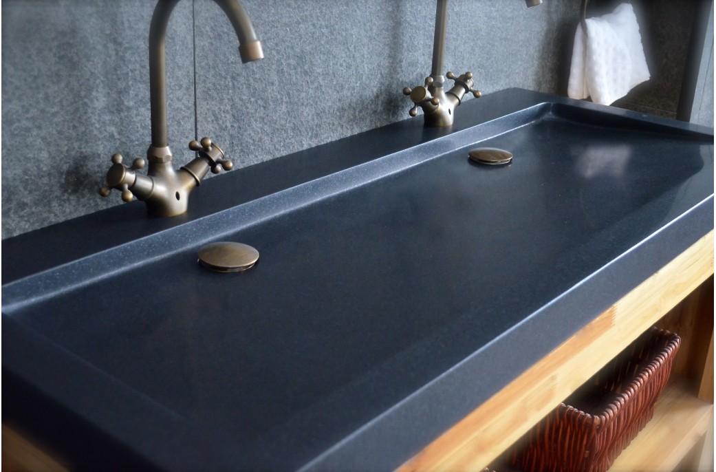 140x50 Double Vasques en granit noir haut de gamme - LOVE SHADOW