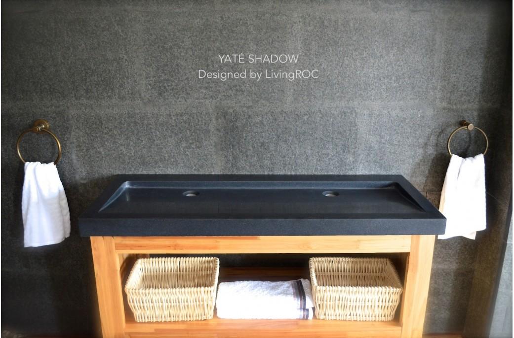 140x50 Double Vasques En Granit Noir Haut De Gamme Love