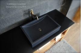 Vasque salle de bain 60x40 granit noir véritable luxe TORRENCE SHADOW