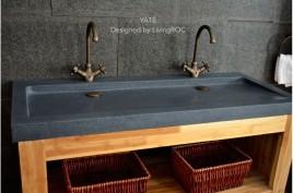Double vasque en pierre 140x50 Granit Gris tendance LOVE