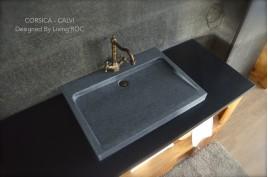 Vasque salle de bain à poser en Granit véritable CALVI