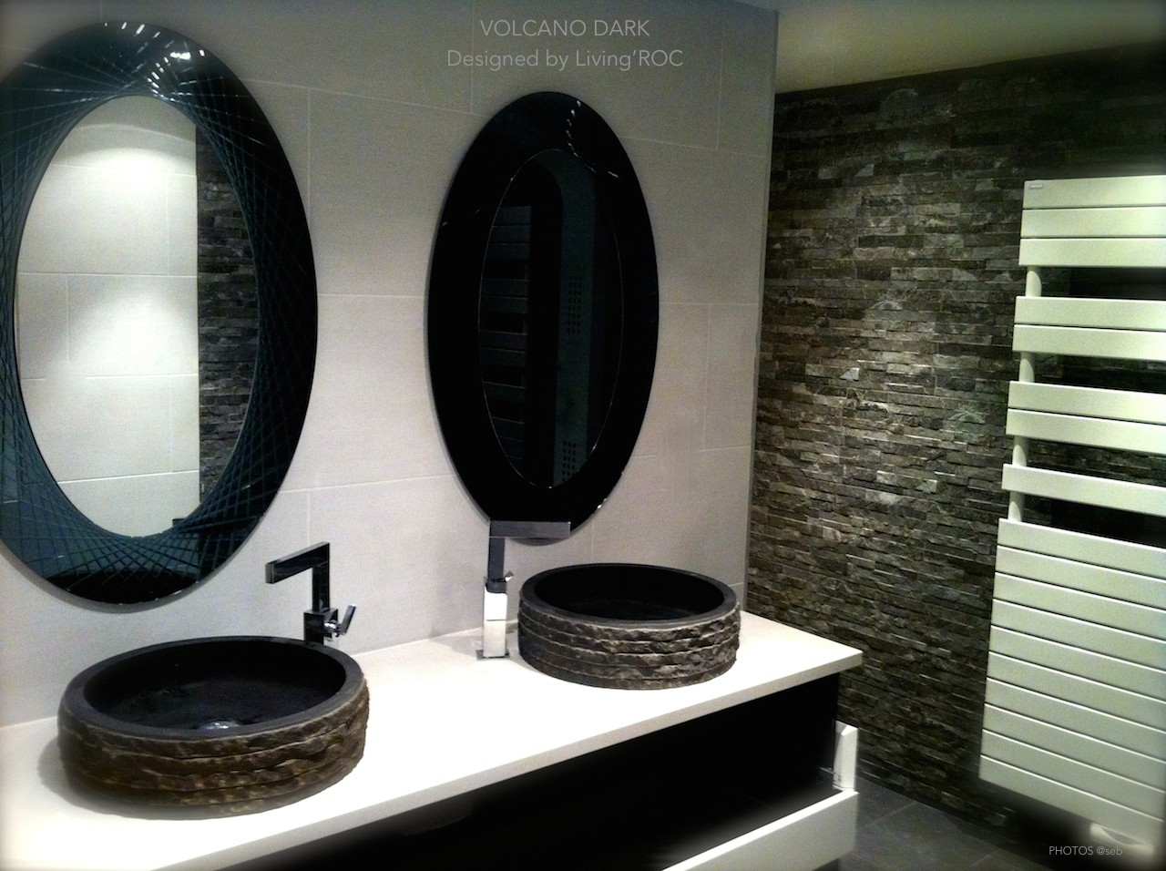Vasque Pierre Salle de Bain en Basalte noir VOLCANO DARK