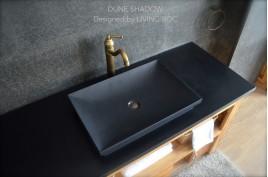 Vasque en pierre 60x40 granit noir véritable DUNE SHADOW