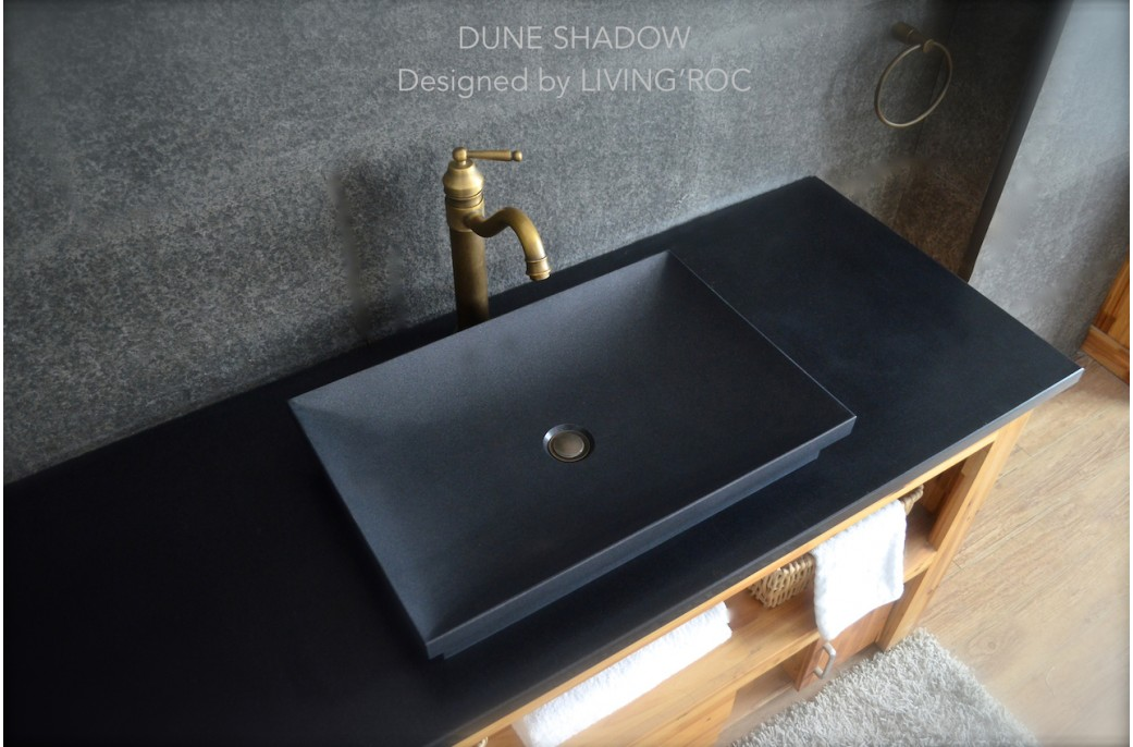 vasque en pierre vier en pierre noire dune shadow. Black Bedroom Furniture Sets. Home Design Ideas