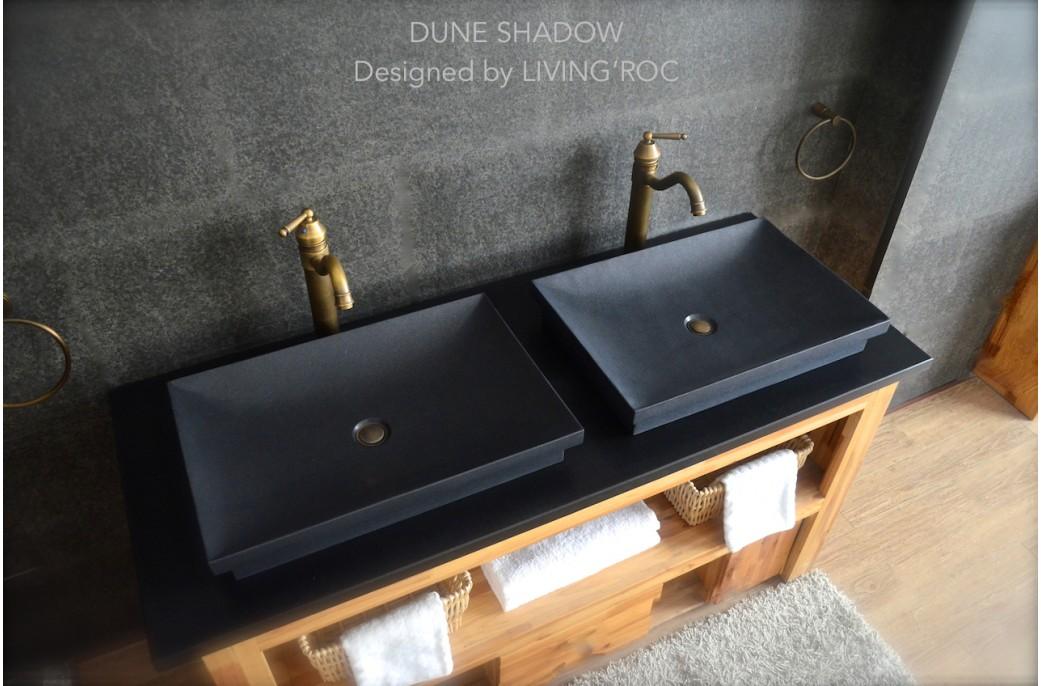 Vasque salle de bain en pierre granit noir véritable 60x40 DUNE SHADOW